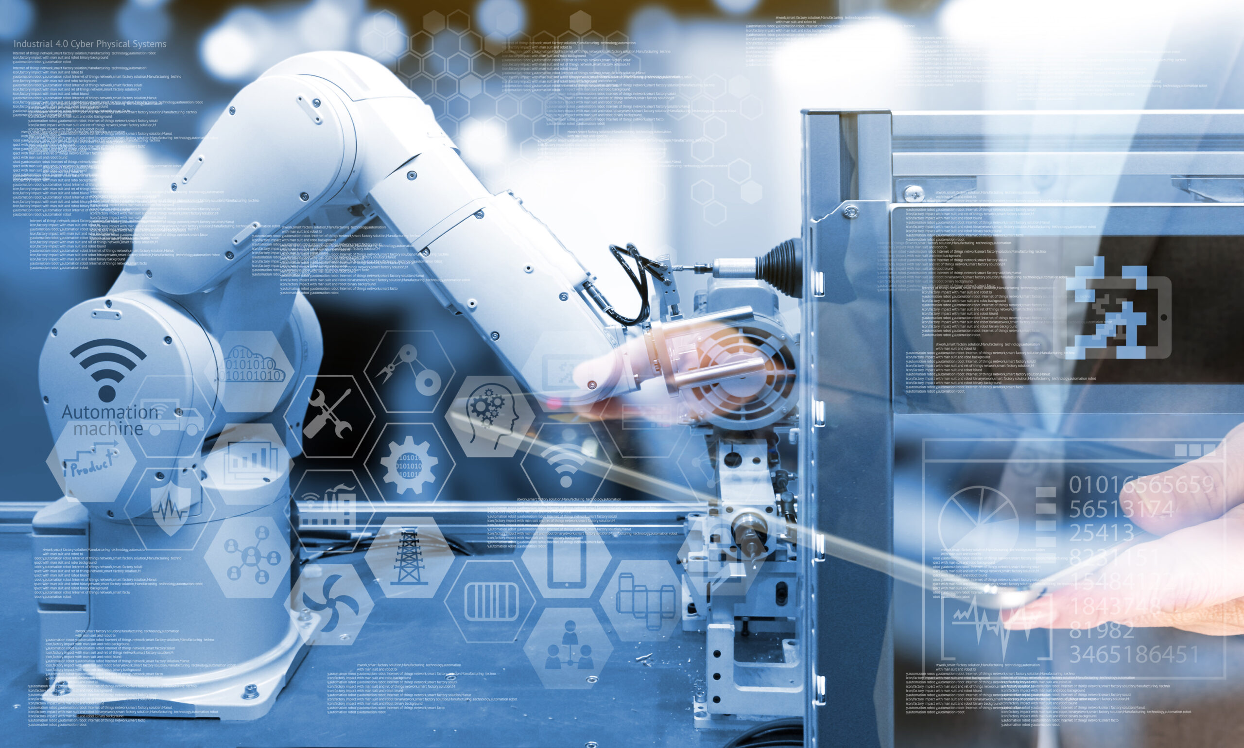 Industry 4.0 concept .Business man holding tablet with industry